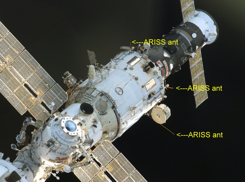 Three antennas on the  Russian Zvezda Service Module.